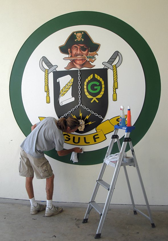 School coat of arms placed on building