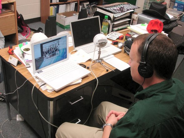 Mr. Rutherford experiments with new technology