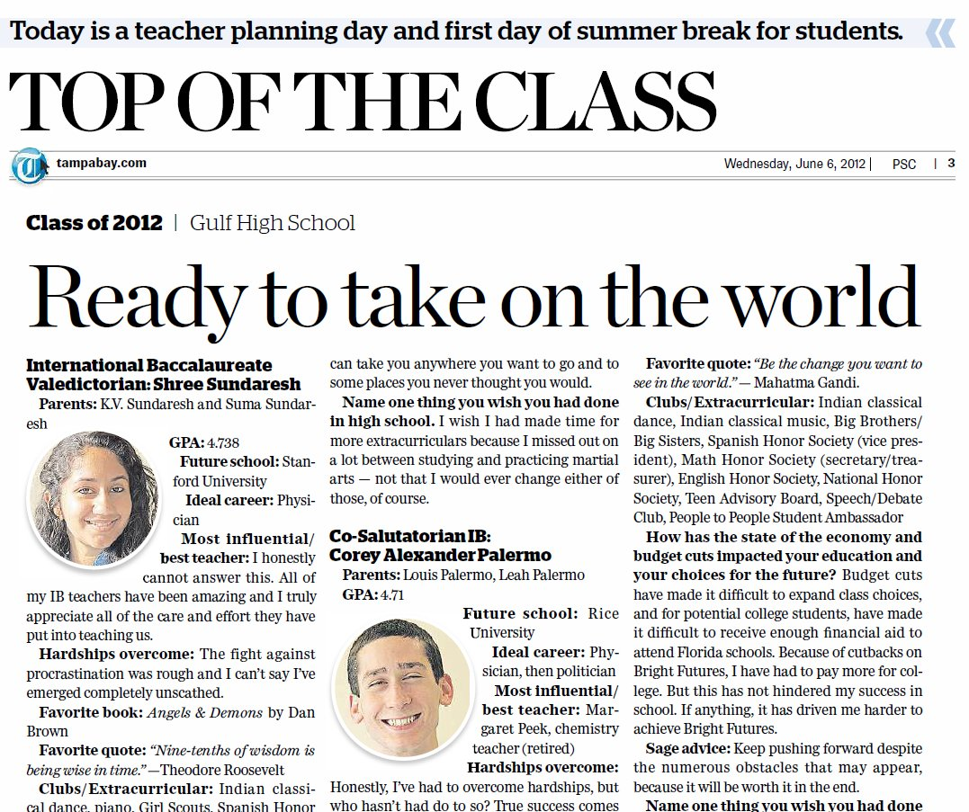 Tampa Bay Times – our valedictorians and salutatorians