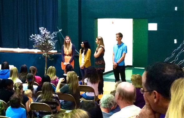 Gulf's top seniors speak to Gulf Middle students
