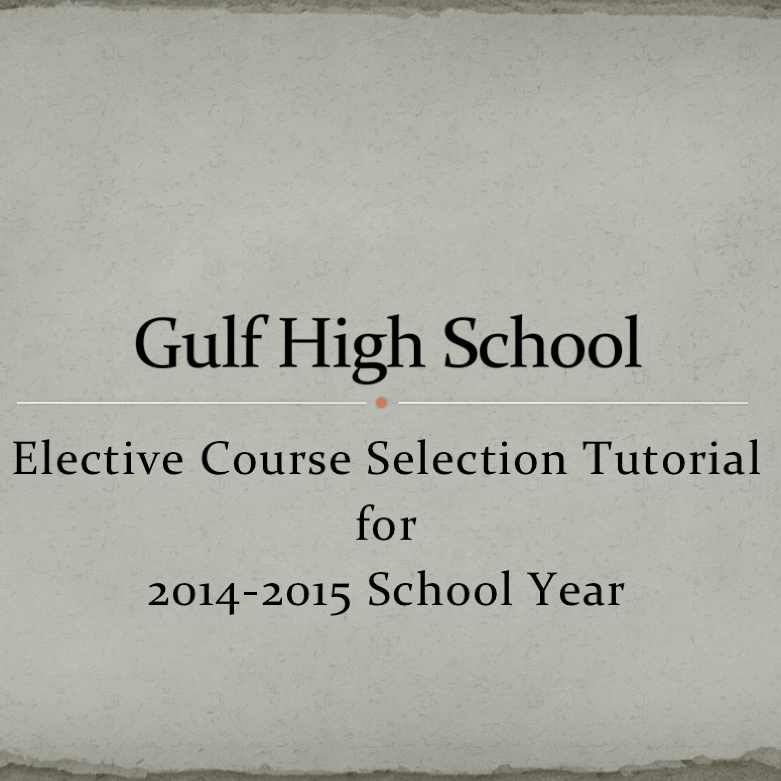 Elective Course Selection PowerPoint