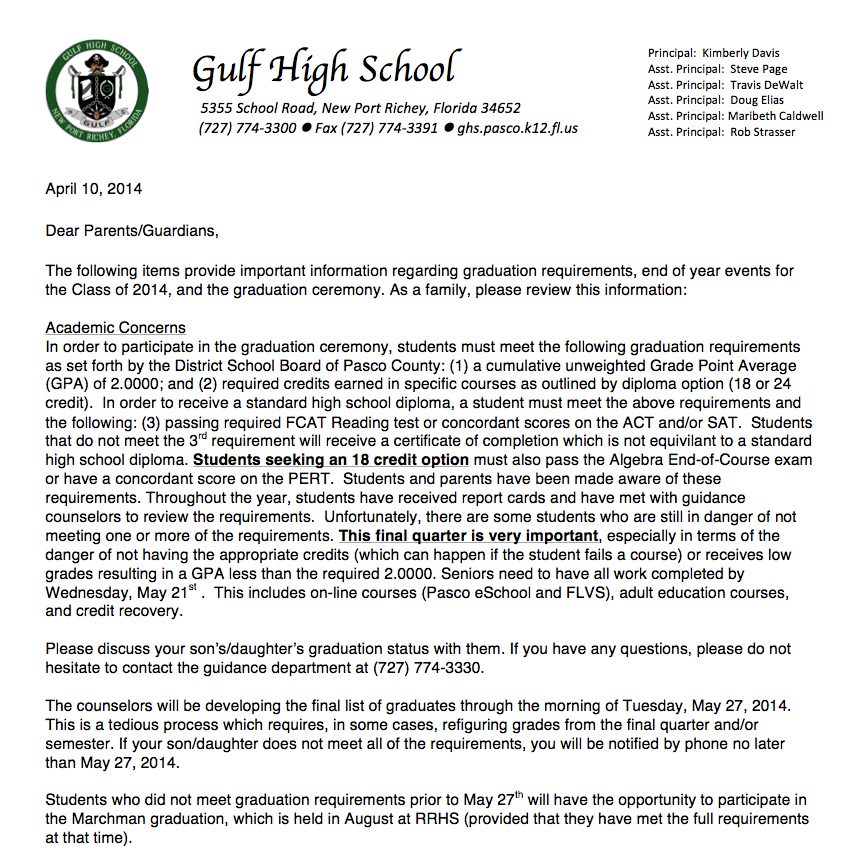 Letter for parents about graduation | Gulf High School