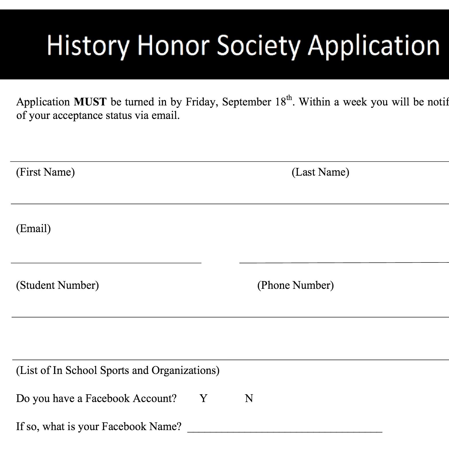 History Honor Society application