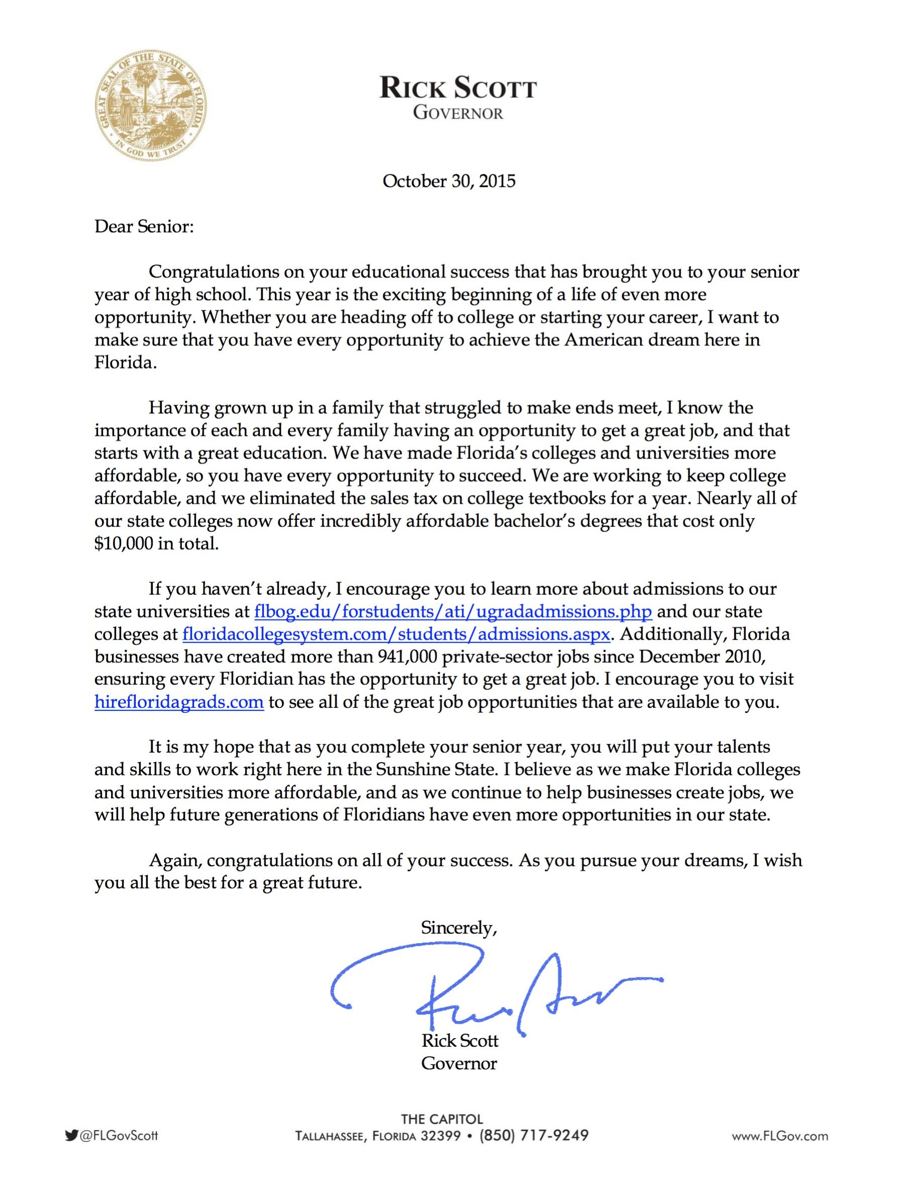 Letter to seniors from Gov. Scott