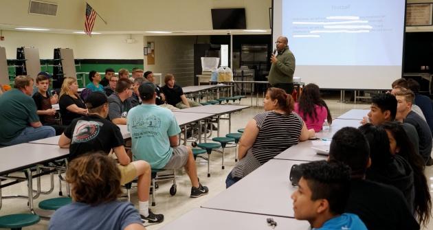 Football parent meeting   Gulf High School