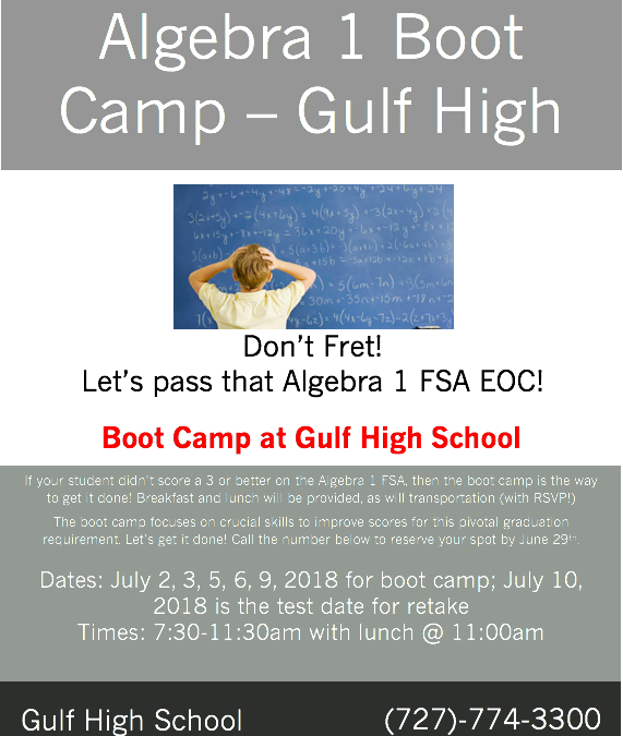 GHS Algebra 1 Bootcamp Announced