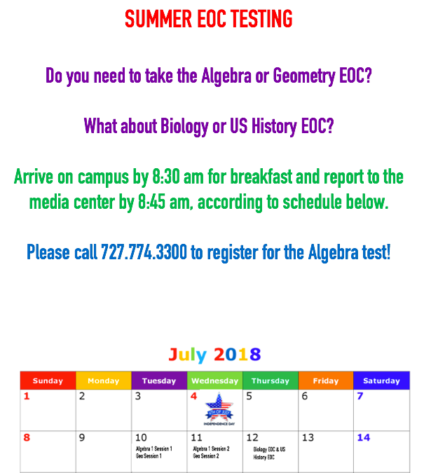 Gulf High's Summer EOC Schedule Released