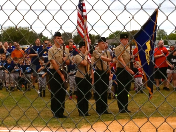 NJROTC cadets at Little League opener