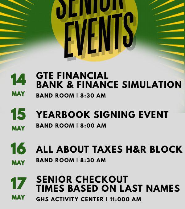 Next Week's Senior Events