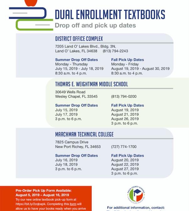 Dual Enrollment Books Schedule